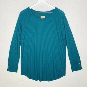 Chaser Womens Waffle Thermal Tunic Top Tee Green Teal Long Sleeve Plus XXL